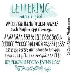 lettrage, style, multilingue, alphabet