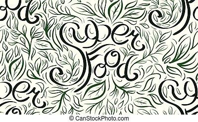 lettrage, superfood, modèle, main., seamless, calligraphic, écrit