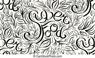 lettrage, superfood, modèle, seamless, calligraphic, écrit, main