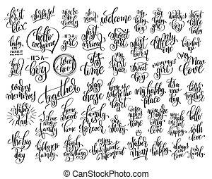 lettrage, sur, ensemble, famille, 50, main, né, écrit, bébé