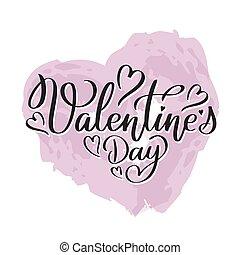 lettrage, texte, écrit, valentin, s, main, jour, heureux