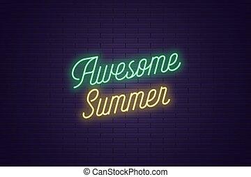 lettrage, texte, impressionnant, néon, incandescent, summer.