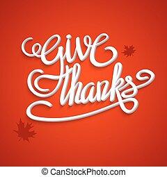 lettrage, thanksgiving, salutation, main, jour, carte, heureux