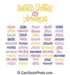 lettrage, usa, etats, typographie, coutume, américain, noms