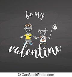 lettrage, valentin, mon, tableau, être
