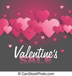 lettrage, valentine, illustration, sale., arrière-plan., vecteur, cœurs, jour
