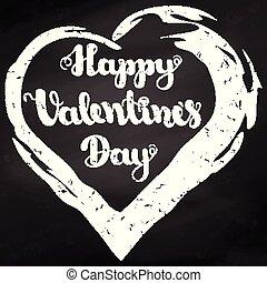 """lettrage, valentines, valentine, eps10., illustration, day., arrière-plan., vecteur, noir, tableau, """"happy, day""""on"""