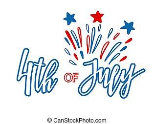 lettrage, vecteur, classique, série, 4ème juillet, vacances, heureux