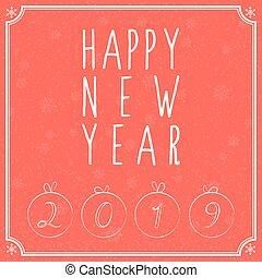 lettrage, vector., snowflakes., main, 2019, fond, année, nouveau, heureux