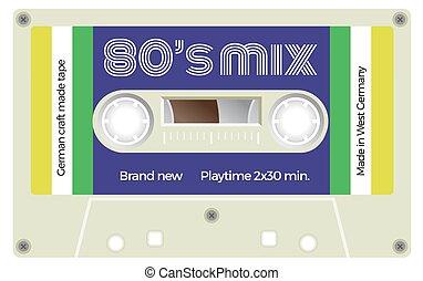 lettrage, vendange, title., cassette, années quatre-vingts, mix.