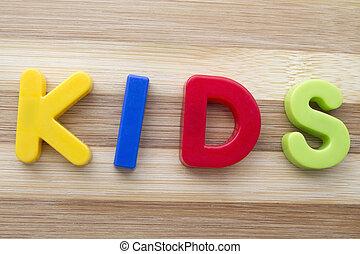 """lettre, aimants, """"kids"""""""
