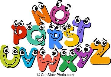 lettre alphabet, dessin animé, heureux, caractères, illustration