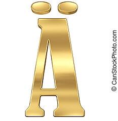 lettre, alphabet, gold., white., isolé