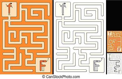 lettre, -, alphabet, labyrinthe, facile, f