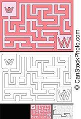 lettre, -, alphabet, labyrinthe, facile, w