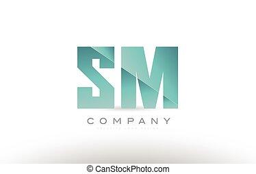 lettre, alphabet, m, s, vert, sm, logo, conception, icône