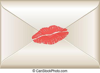 lettre, amour, baiser rouge lèvres