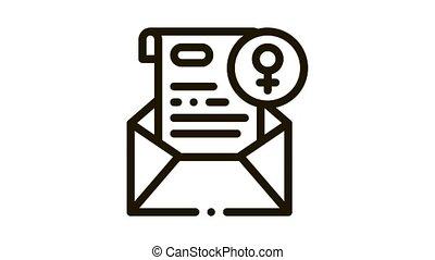 lettre, animation, message, icône