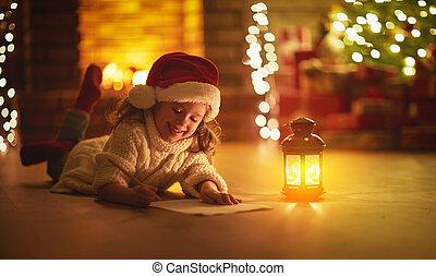 lettre, arbre, écriture, santa, enfant, maison, girl, noël