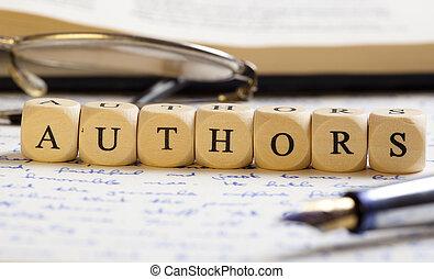 lettre, auteurs, dés, concept: