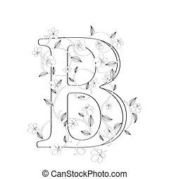 lettre b, floral, croquis