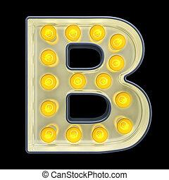lettre b, lumière, rendre, incandescent, retro, font., ampoule, 3d