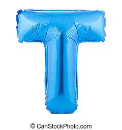 lettre, balloon, fond blanc, fait, gonflable, t