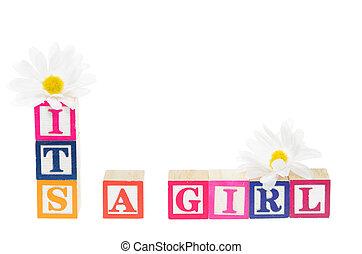 lettre, blocs, orthographe, 'its, a, girl', à, fleurs