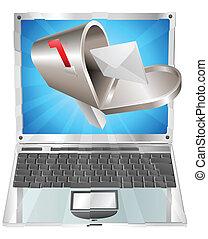 lettre, boîte lettres, voler, dehors, de, ordinateur portable, écran, concept