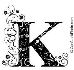 lettre, capital, k
