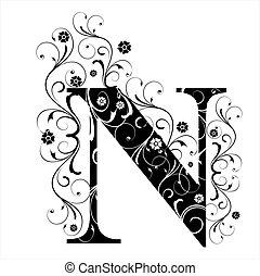 lettre, capital, n