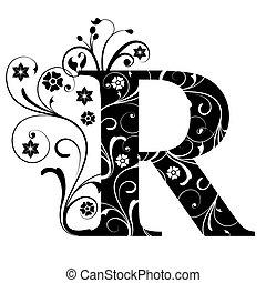 lettre, capital, r