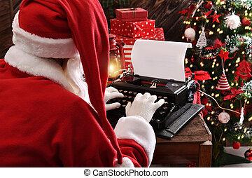 lettre, claus, santa, vieux, écriture, machine écrire