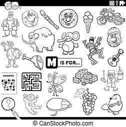 lettre, coloration, pédagogique, m, tâche, page, livre