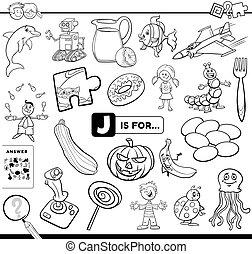 lettre, coloration, pédagogique, tâche, j, page, livre
