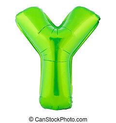 lettre, couleur ballon, fait, y, vert, gonflable