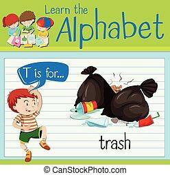 lettre, déchets ménagers, flashcard, t