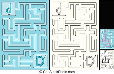 lettre, -, d, alphabet, labyrinthe, facile