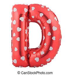 lettre, d, couleur ballon, fait, rouges, gonflable