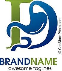 lettre, d, gastro-entérologie, logo