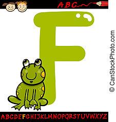 lettre, dessin animé, grenouille, illustration, f