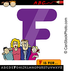 lettre, dessin animé, illustration, famille, f