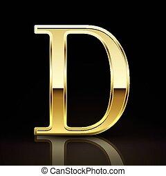 lettre, doré, élégant, d, 3d
