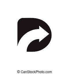 lettre, espace, flèche, logo, rd, négatif, vecteur