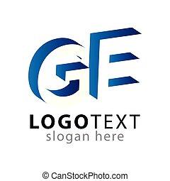 lettre, espace, initiale, négatif, ge, vecteur, gabarit, ...