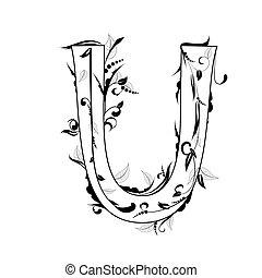 lettre, feuillage