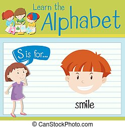 lettre, flashcard, s, sourire