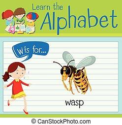 lettre, flashcard, w, guêpe