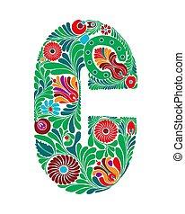 lettre, floral, capital, c