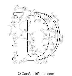 lettre, floral, d, croquis